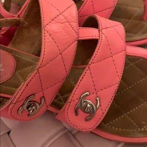 Chanel pink logo sandals-rare color
